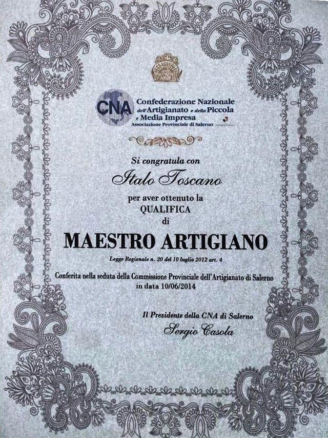 un certificato rilasciato a Italo Toscano con la qualifica di Maestro Artigiano