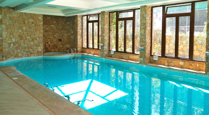 Indoor swimming pool with stone clad walls and large windows