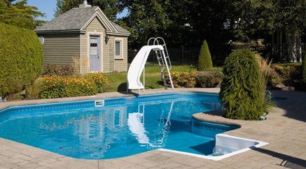outdoor private pool with slide