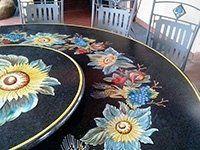 tavolo pietra lavica fascia con girasoli rilievo