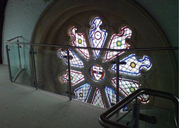 glass window by the staircase