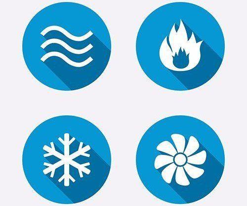 quattro icone blu dei servizi termotecnici