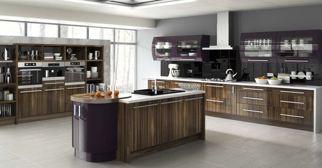 Spacious kitchen with wooden cabinets