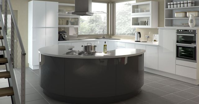Large kitchen with circular table