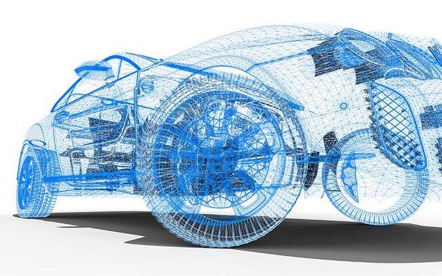 Disegno tridimensionale del auto e loro parti