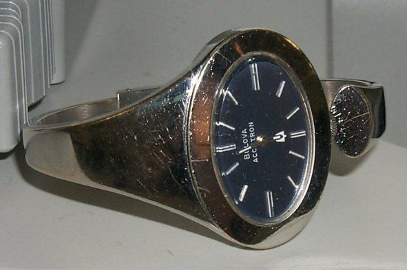 Accutron 230 ladies bangle watch before refinishing and rhodium plating at the time preserve