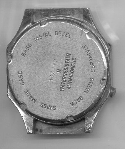 LED watch back before restoration at The Time Preserve