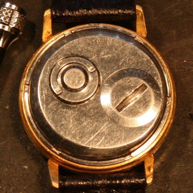 Slava Transistor watch back before restoration The Time Preserve