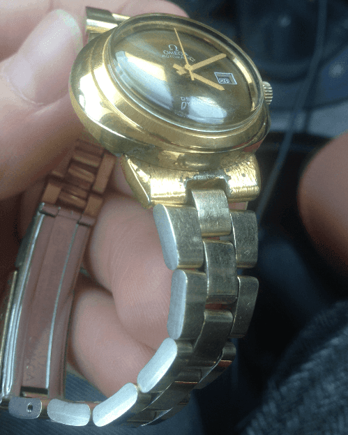 Omega automatic watch before refinishing and Gold plating at The Time Preserve
