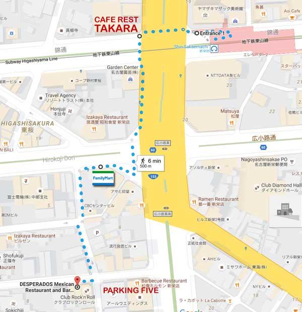 Map to Desperados from Shinsakae Station