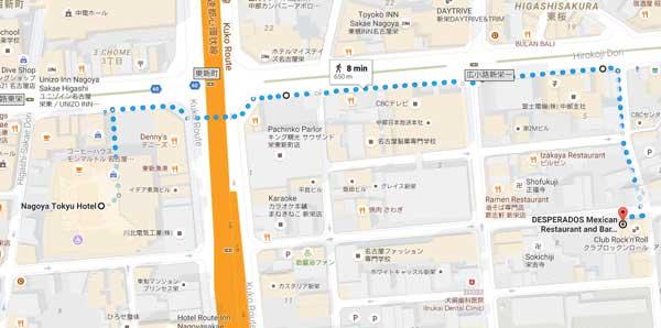 Map to Desperados from Tokyu Hotel