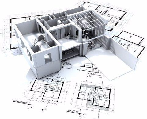 A white 3D model of a building on top of sketched plans