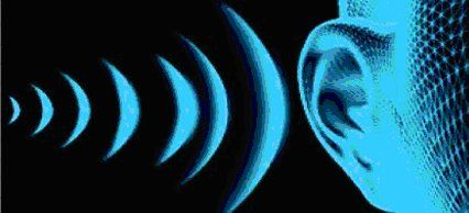 visualisation of soundwaves entering an ear