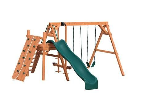 AFR 2 stained pine swing set with rock wall - Coram, Long Island, Medford, The Hamptons NY - Wood Kingdom East