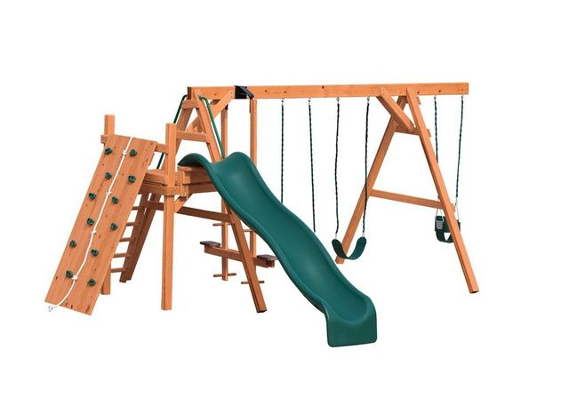 AFR 3 stained pine swing set - Coram, Long Island, Medford, The Hamptons NY - Wood Kingdom East