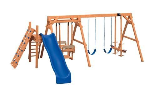 AFR 4 stained pine swing set - Coram, Long Island, Medford, The Hamptons NY - Wood Kingdom East