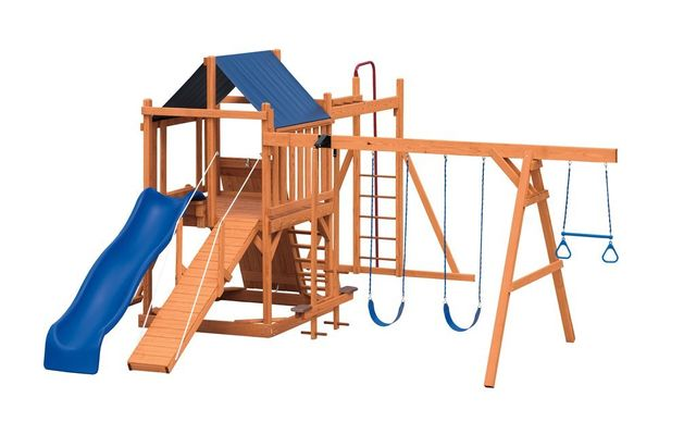 contemporary deluxe stained pine swing set - Coram, Long Island, Medford, The Hamptons NY - Wood Kingdom East