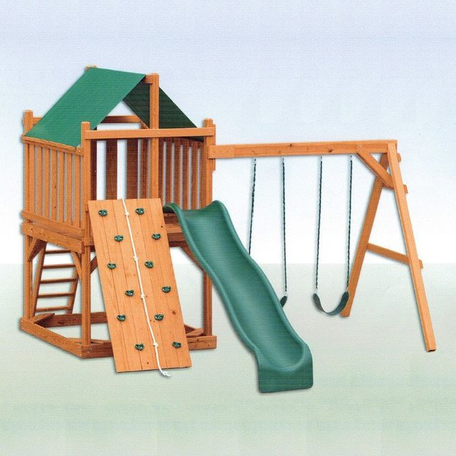 contemporary stained pine swing set - Coram, Long Island, Medford, The Hamptons NY - Wood Kingdom East