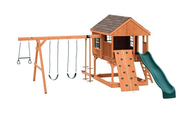 country cabin stained pine swing set - Coram, Long Island, Medford, The Hamptons NY - Wood Kingdom East