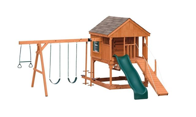 country chateau stained pine swing set - Coram, Long Island, Medford, The Hamptons NY - Wood Kingdom East