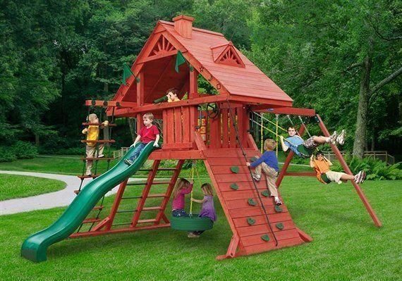 Dane's Den cedar playground swing set - Wood Kingdom East - Coram, Long Island, Medford, The Hamptons NY