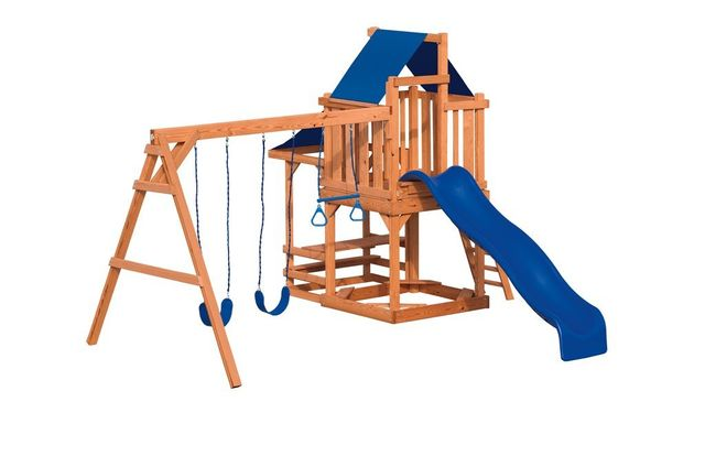 gymette stained pine swing set - Coram, Long Island, Medford, The Hamptons NY - Wood Kingdom East
