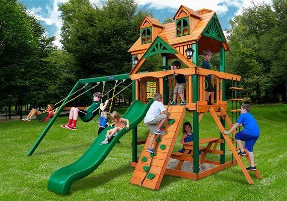 The Horizon playground swing set with deluxe Riviera Roof - Wood Kingdom East - Coram, Long Island, Medford, The Hamptons NY