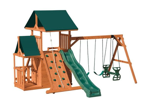 hurricane hideout stained pine swing set - Coram, Long Island, Medford, The Hamptons NY - Wood Kingdom East