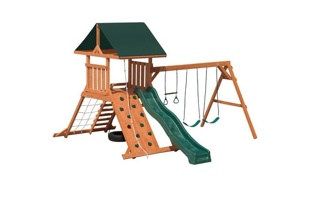 hurricane stained pine swing set - Coram, Long Island, Medford, The Hamptons NY - Wood Kingdom East