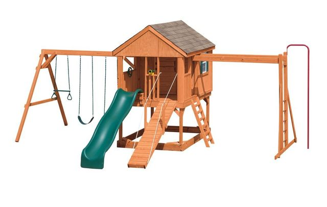 summer retreat stained pine swing set - Coram, Long Island, Medford, The Hamptons NY - Wood Kingdom East