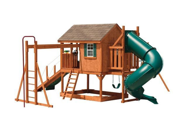 summer retreat stained pine swing set with turbo slide - Coram, Long Island, Medford, The Hamptons NY - Wood Kingdom East