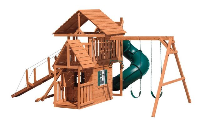 turbo tower hideout stained pine swing set with wood roof - Coram, Long Island, Medford, The Hamptons NY - Wood Kingdom East