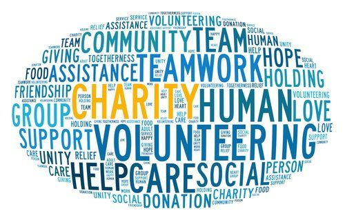 Oval of words in regards to community involvement and giving back
