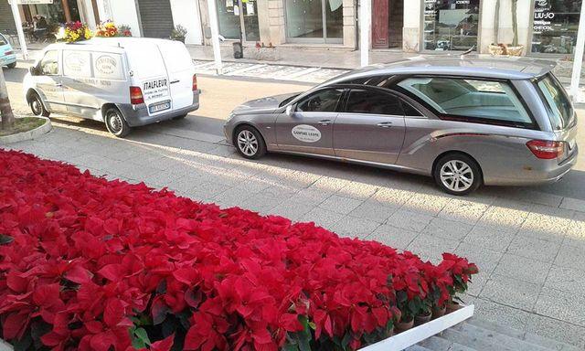 serie di vasi con all'interno delle stelle di Natale rosse vicino a degli scalini e di fronte un carro funebre e un furgone parcheggiati a Partinico, PA