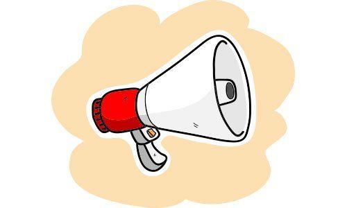 disegno di un megafono bianco con manico rosso