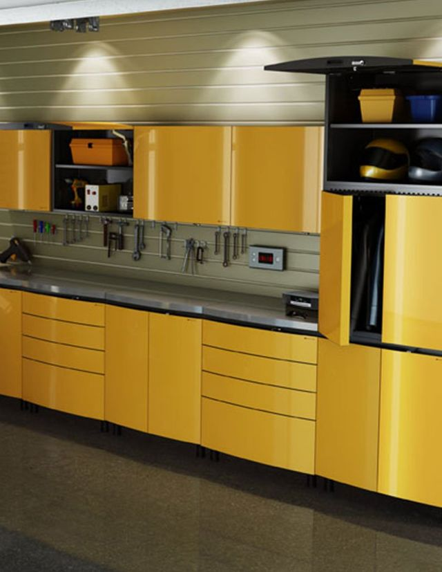 Yellow Custom Built Metal Garage Cabinets