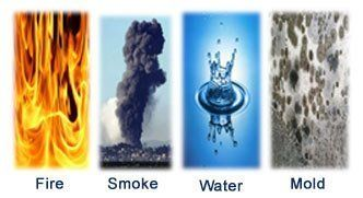 fire, smoke, water and mold