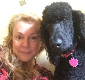 Black standard Poodle and owner