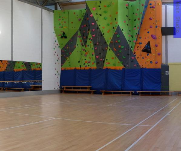 A multi-coloured climbing wall