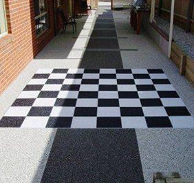 Chequered pattern paving outdoors