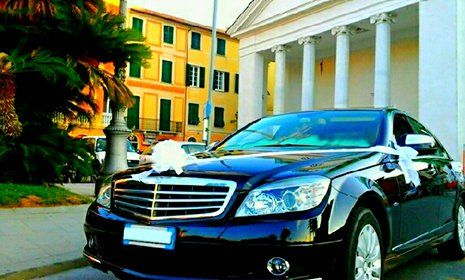 una vettura Mercedes color blu scuro con fiori sul cofano e sullo specchietto, e' parcheggiata vicino a una costruzione antica con delle colonne in marmo bianche e vicino c'e' un pino