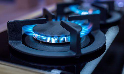 Fornello a gas in funzione