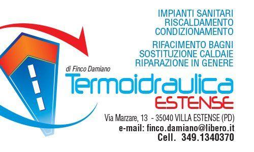 Biglietto da visita di Termoidraulica Estense di Finco Damiano, per impianti idraulici a Villa Estense