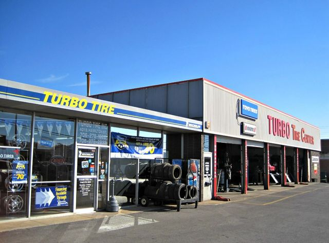Tires lined up by tire dealers in Dalton, GA