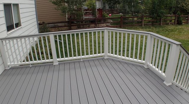 Classic white railing system in the deck in Denver, CO