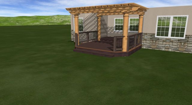 3D rendering of projected deck and pergola construction in Denver