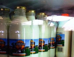 Bottled milk being packed