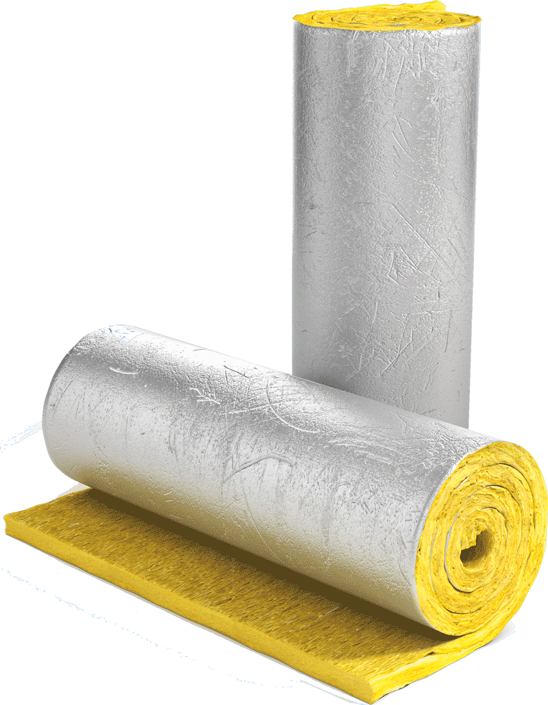 rolls of yellow insulation with foil