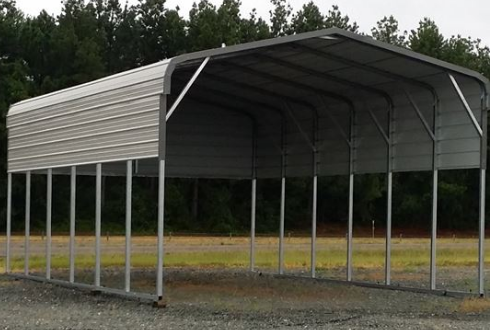 arport car garage parking made from metal and glass