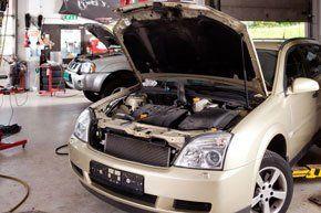 car with bonnet up